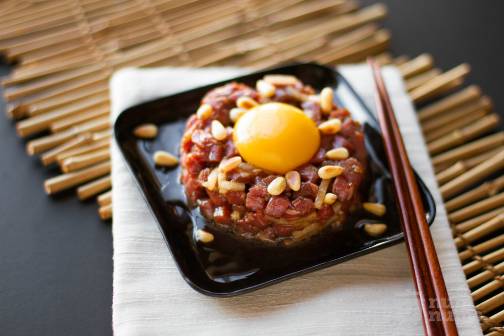 korean beef tartare from the kimchi chronicles