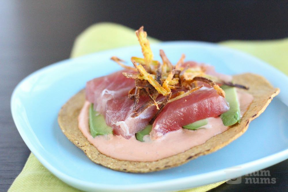 the tacolicious chipotle tuna tostada with crispy leeks