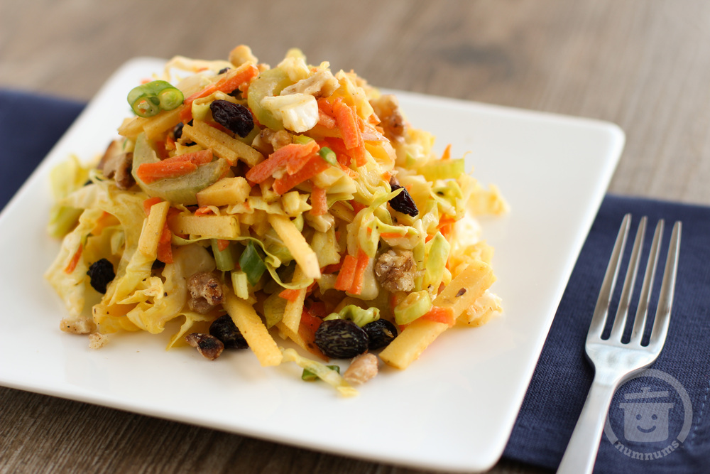 Cabbage and Apple Slaw with Curried Yogurt Dressing