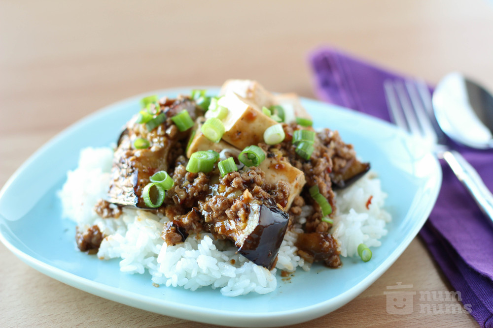 spicy eggplant, pork, and tofu stir fry