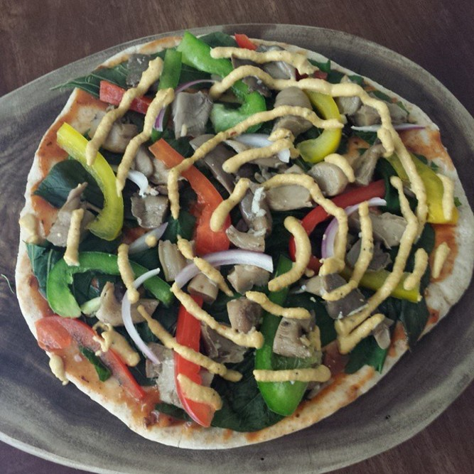 Hummus Pizza with Cashew Cheese
