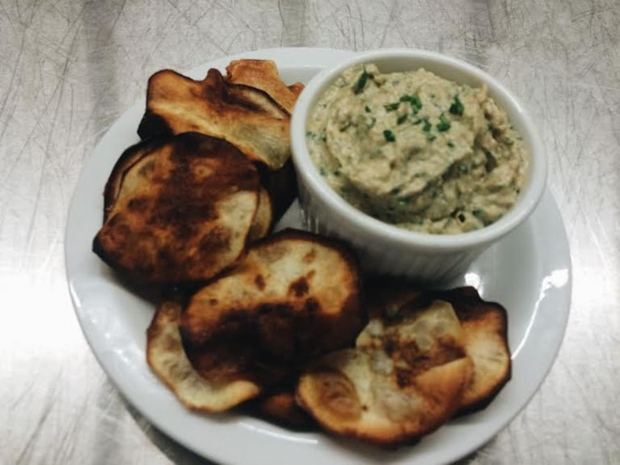 ... Friache and Caramelized Onion Dip with Ghee-Fried Sweet Potato Chips