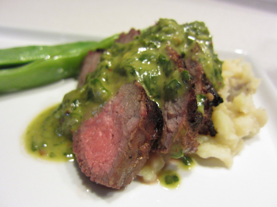 Grilled Tri Tip Steak with Chimichurri Sauce and Celery Root Mash on ...