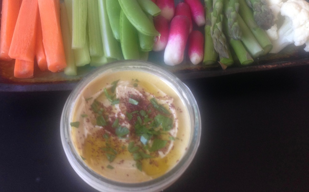 Hummus with Spring Vegetable Crudités on numnums.com